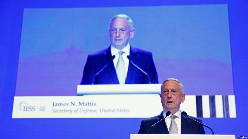 ▲6月2号,美国国防部长马蒂斯在新加坡举行的地区安全会议上发言。