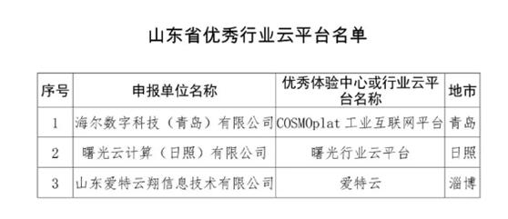 曙光云计算(日照)等三家企业入选获得优秀行业云平台