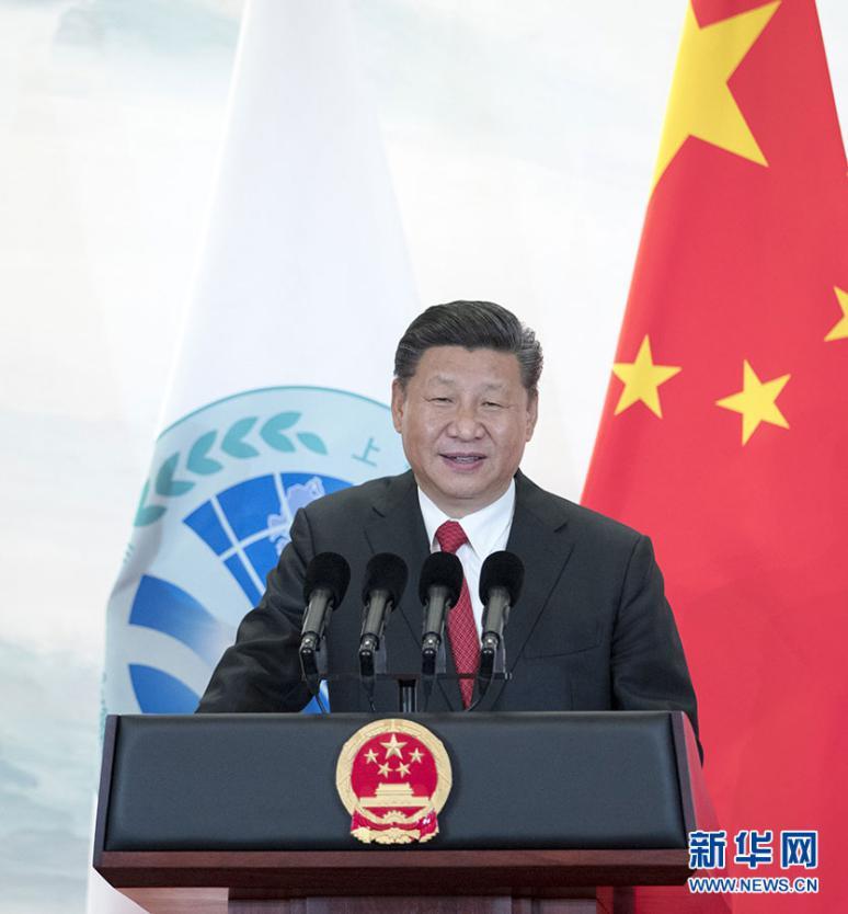 6月9日,国家主席习近平在青岛国际会议中心举办宴会,欢迎到会上海协作安排青岛峰会的外方领导人。这是习近平宣布致辞。图片来历:新华社
