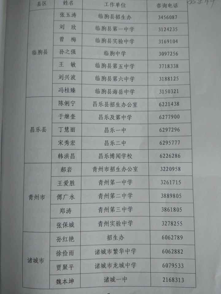 潍坊市公布高考志愿填报指导师信息