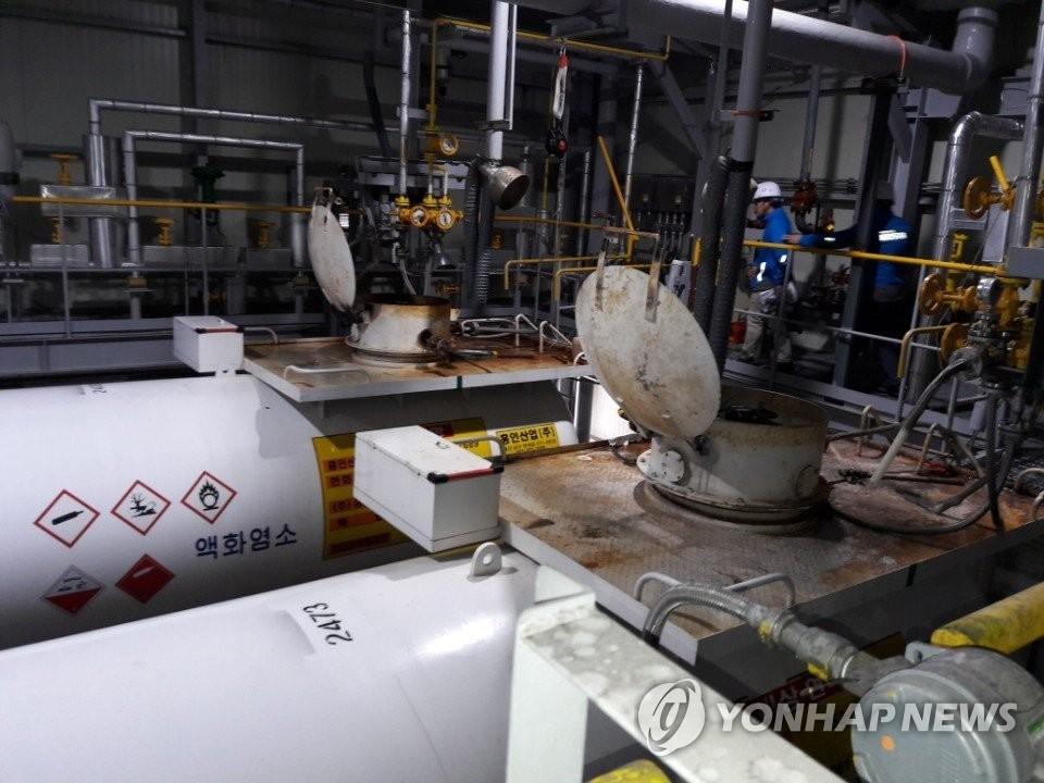 发生泄露的蔚山韩华化学第2工厂。