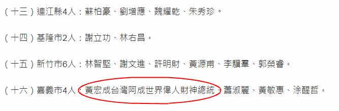 """台""""九合一""""选举出现名字长15字候选人(台""""中选会""""网站截图)"""