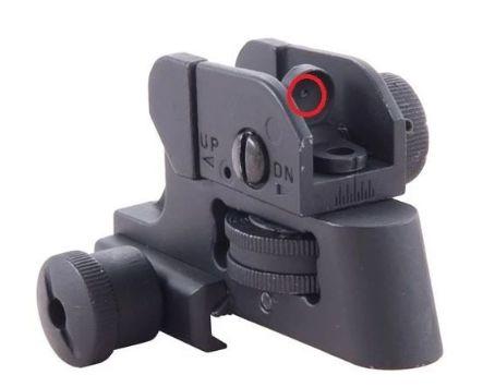红圈所示为提把后端的觇孔式瞄准具