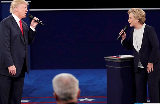 ▲ 美国竞选中的特朗普与希拉里