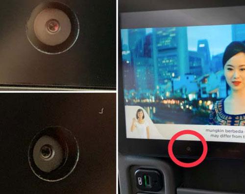 机舱座椅背后可能隐藏着摄像头。(社交网站截图)