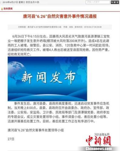 图为唐河县政府官方网站情况通报。官网截图