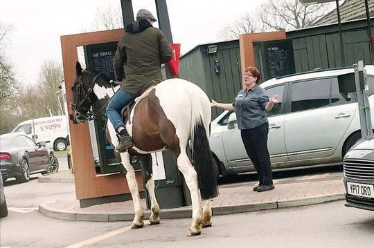 工作人员向他解释汽车穿梭餐厅只给汽车使用,骑马不行