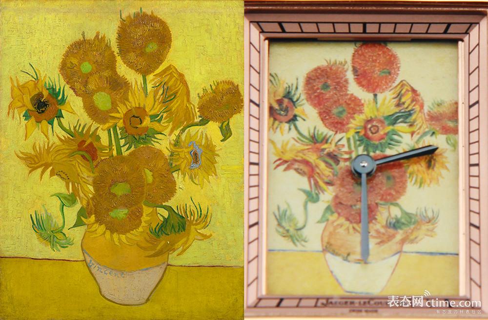 兰阿姆斯特丹的梵高博物馆的《向日葵》原作(左)和积家Reverso