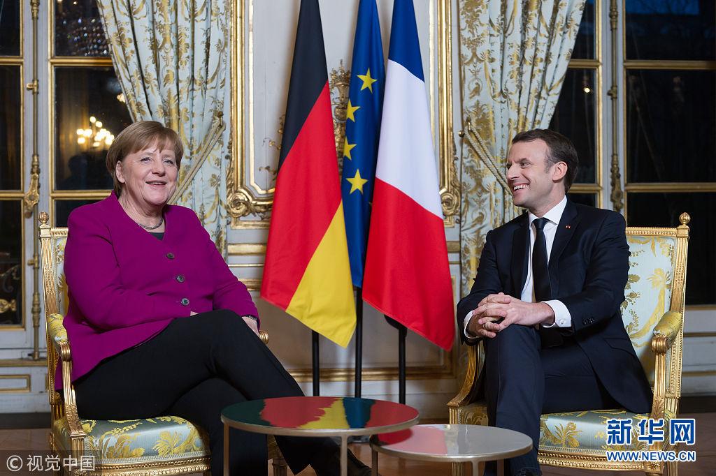 法总统马克龙会见默克尔 强调欧洲改革需