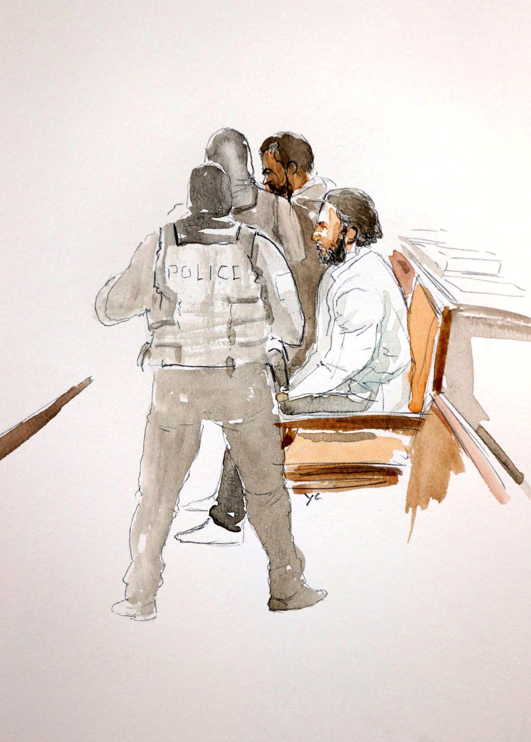 艺术家笔下,萨拉赫·阿卜杜勒-萨拉姆出庭的写意图。