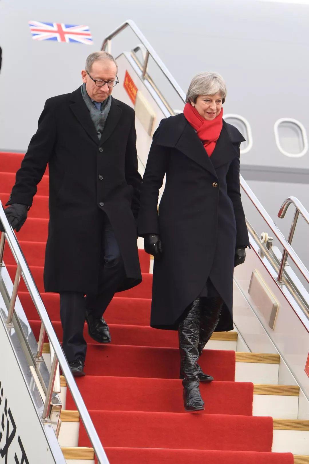 2018年1月31日,英国首相特雷莎・梅抵达武汉。新华社记者肖艺九 摄