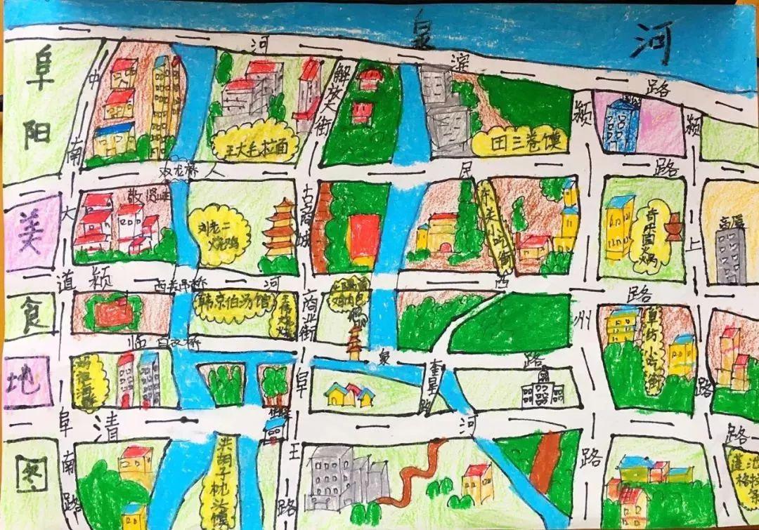 阜阳小学生手绘阜城美食地图,带你一次吃个够!