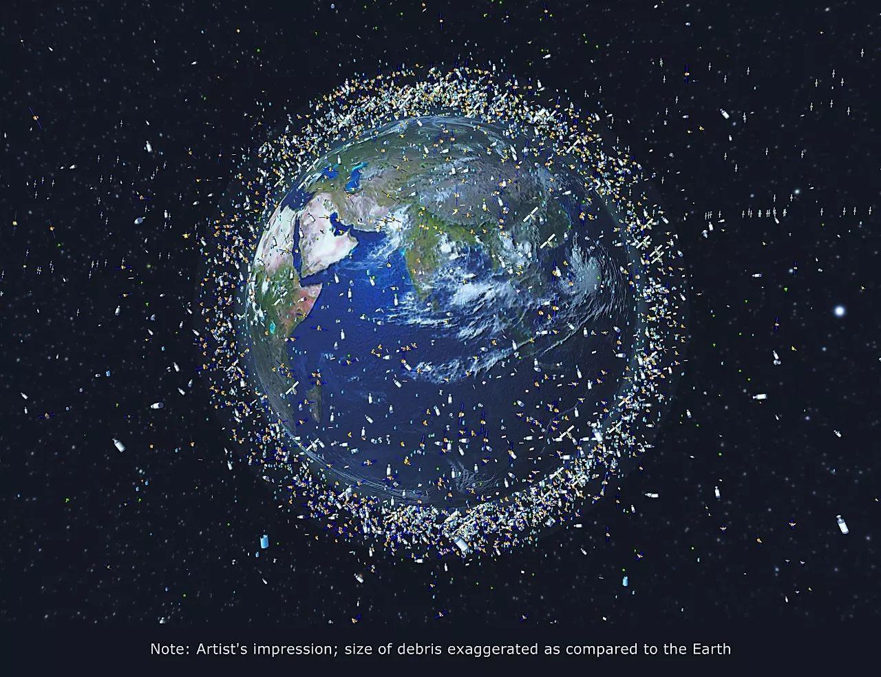 欧洲航天局发布的太空垃圾电脑合成照片
