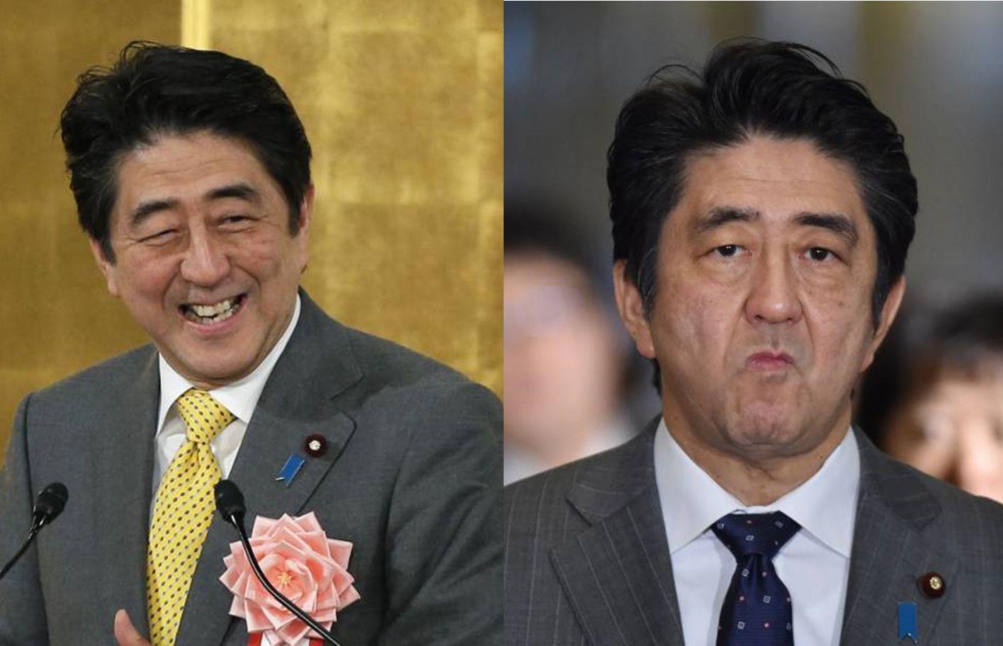 """▲安倍晋三""""现实主义者""""和""""保守政治家""""的两副面孔。(《日本时报》)"""