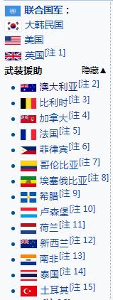"""朝鲜战争参战""""联合国军""""一方国家构成(截图来自维基百科)"""