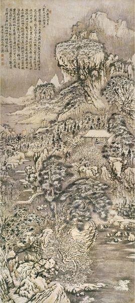 《长安雪霁图轴 》 石涛 康熙二十九年(1690年) 纸本设色 四川博物院藏