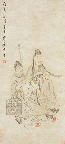 《右军笼鹅图轴 》陈洪绶 明代 纸本设色 四川博物院藏