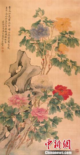 清黄山寿设色牡丹图 钟欣 摄