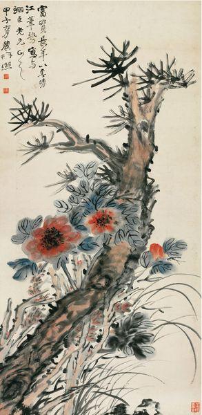 《花卉图轴》 曾熙 1924年 纸本设色 中国国家博物馆藏