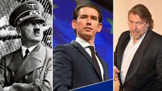 阿尔道夫·希特勒(左)、奥地利新任总理塞巴斯蒂安·库尔茨(中)、德国电视影星阿明·罗德(右)