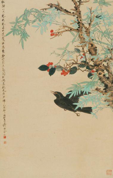 《花鸟图轴》 谢稚柳 1945年 纸本设色 博物院藏
