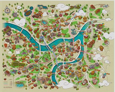 手绘地图中的什刹海,故宫等著名景点,改变了以往人们眼中的形象,让人