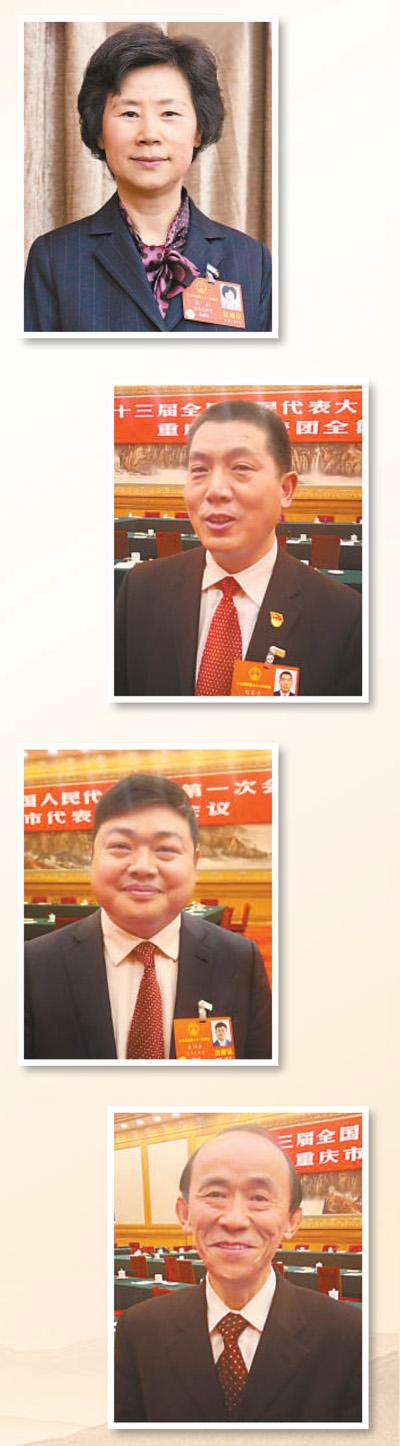 图片从上至下依次为:张轩代表刘家奇代表朱明跃代表马善祥代表