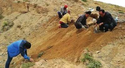 村民在捡拾陨石