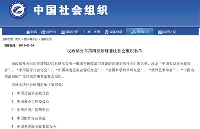 3月9日,民政部公布的第四批涉嫌非法社会组织名单。
