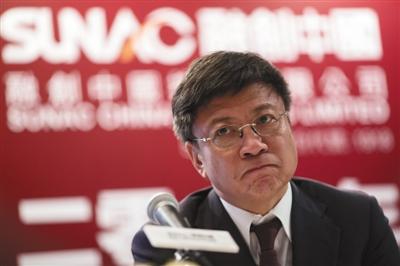 2015年3月24日,香港,融创董事会主席孙宏斌出席发布会。资料图片/视觉中国