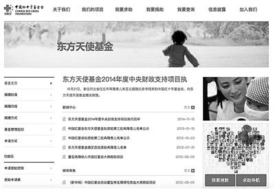 东方天使基金会网站页面 北京青年报 图