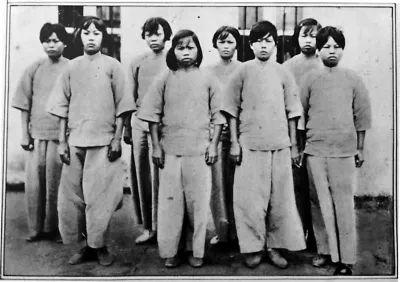 """1934年,男子军连干部被押到""""广州公民特殊感召院""""(公民党牢狱)软禁,始终到抗日战斗暴发后的1937年冬才被开释。她们在狱中坚持了反动时令,无一人叛变自首。右起:庞琼花、蒙汉强、黄墩英、王时喷鼻、冯增敏、庞学莲、王学葵、林尤新。"""