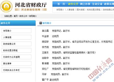 """河北省财政厅网站""""领导简介""""栏目截图"""