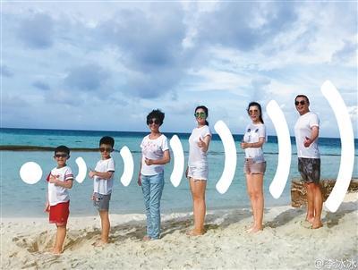 这几年,李冰冰一有时间就用来陪家人。图片来自艺人微博