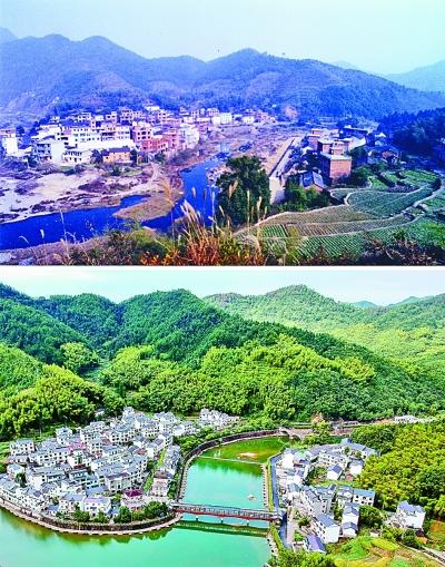 上图:2003年的下姜村;下图:2017年8月9日航拍的下姜村。新华社发