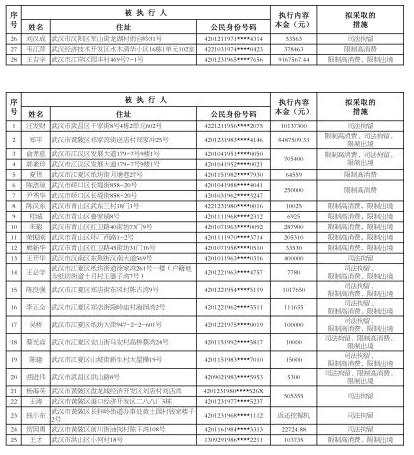 武汉发布2017年第6批失信黑名单 黑名单 第1张