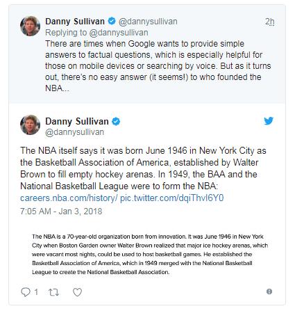 """谷歌搜索出现错误 显示""""球爹""""创立了NBA"""