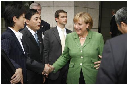 2007年8月28日,默克尔在南京。