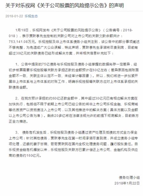 乐视控股:非上市体系只拖欠乐视网60亿而非75亿