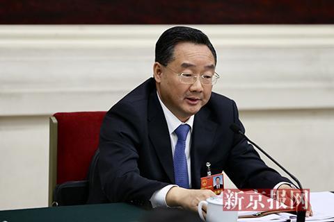 甘肃省省长唐仁健讲话。新京报记者 薛珺 摄