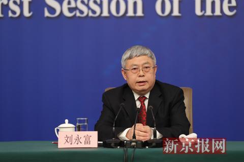 3月7日下午,梅地亚中心多功能厅,国务院扶贫办主任刘永富出席记者会。新京报记者 侯少卿 摄