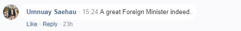外国网友表达对王毅外长的钦佩。