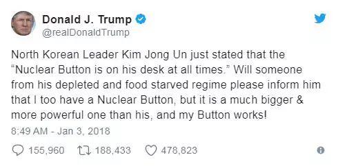 """▲1月3日,特朗普发推特回应金正恩新年致辞称,""""麻烦请转告他,核按钮我也有,比他的更大、更厉害,而且真的管用!"""""""