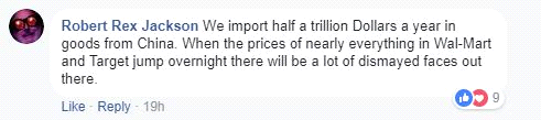 美国网友称,中美贸易战会使美国消费者沮丧。
