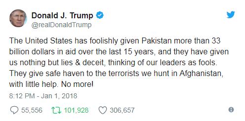 """▲2018年1月1日,美国总统特朗普发推文称,""""巴基斯坦对美只有欺骗和谎言""""。"""
