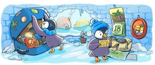 谷歌推出涂鸦组图迎接2018元旦:企鹅兄弟担当主角