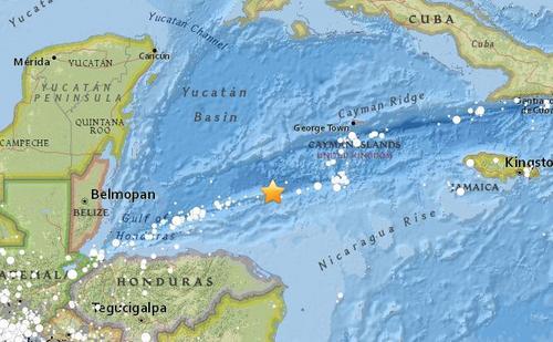 洪都拉斯附近海域发生7.8级地震 可能引发海啸