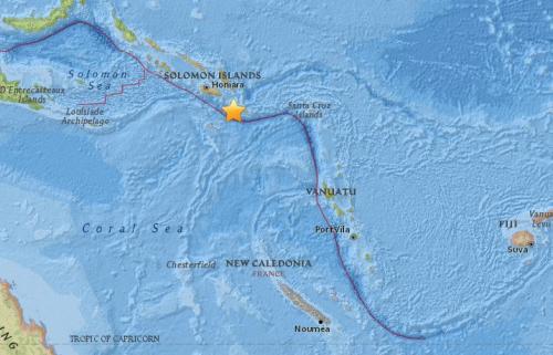 所罗门群岛南部海域发生5.1级地震。(图片来源:美国地质勘探局)