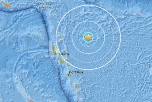 瓦努阿图东部海域发生5.5级地震 震源深度10公里