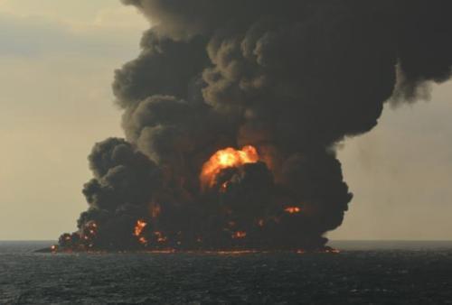 资料图:爆燃现场。图片来源:交通运输部微信公众号。